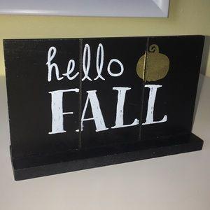 """Hello Fall"" seasonal decor sign"